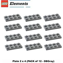 Lego Parts: Plate 2 x 4 (PACK of 12 - DBGray)