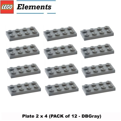 Lego Parts: Plate 2 x 4 (PACK of 12 - DBGray) (Lego Jedi Starfighter And Vulture Droid)