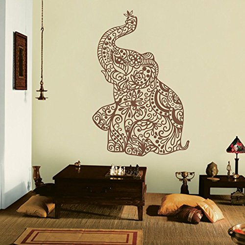 Mairgwall elephant wall stickers yoga vinyl boho wall decal home bedding decor nursery wall - Elephant decor for living room ...