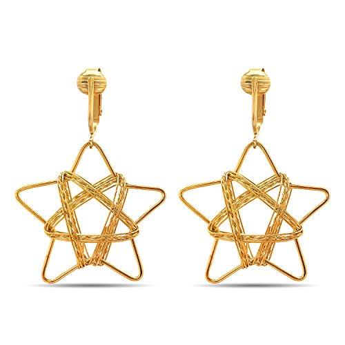 ngs Gold, Clip Earrings Gold, Clip Gold Earrings, Gold Clip Earrings for Women (Wire-Wrapped Stars) ()
