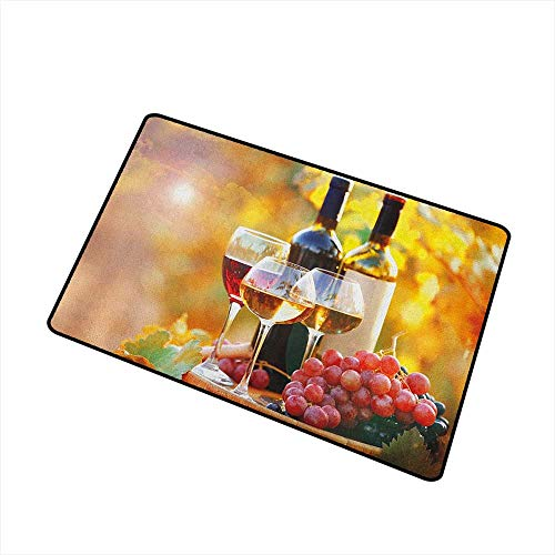 Wang Hai Chuan Wine Commercial Grade Entrance mat Tasty Wine on Wooden Barrel on Grape Plantation Countryside Harvest Rural Growth for entrances garages patios W15.7 x L23.6 Inch Orange Red Black