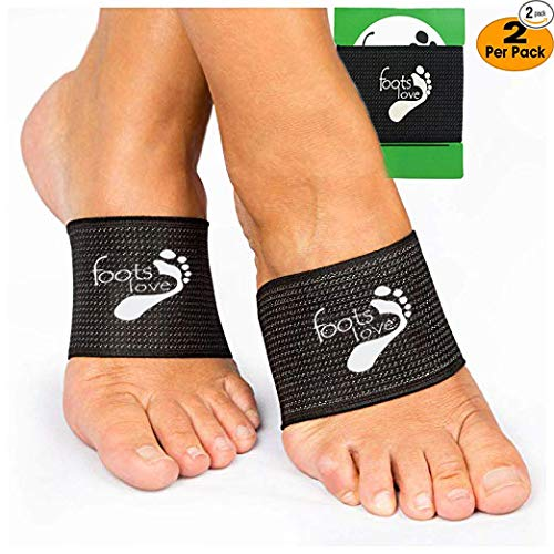 Foots Love Plantar Fasciitis - Arch Support Inserts Copper Compression - Arch Sleeves for Men and Women. Arch and Heel Pain Relief (Black) (Best Foot Arch Support)