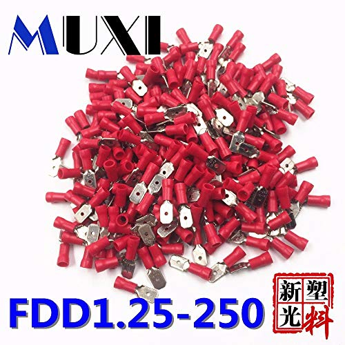 Davitu FDD1.25-250 Male Insulated Electrical Crimp Terminal for 0.5-1.5mm2 Connectors Cable Wire Connector 100PCS/Pack Red