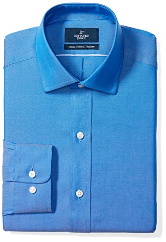 BUTTONED DOWN Men's Classic Fit Spread-Collar Solid Non-Iron Dress Shirt (No Pocket), French Blue, 19.5