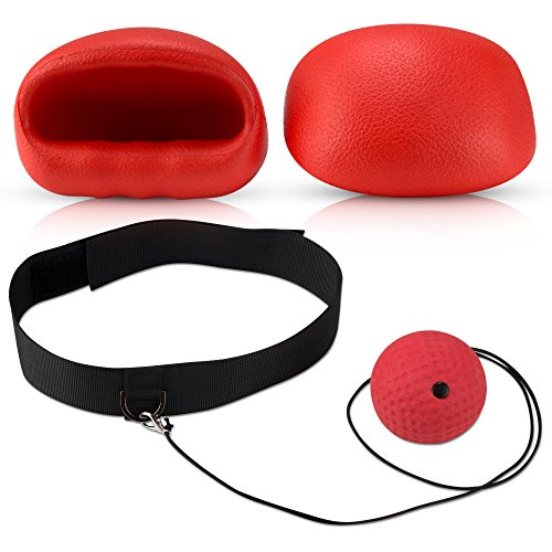 Boxing Reflex Ball - Boxing Equipment, Adjustable Head Band, Gloves, Extra String, Instruction and Repair Guide Included - Perfect For Reflex/Speed Training Improve Reactions for Kids Aswell by Punch King
