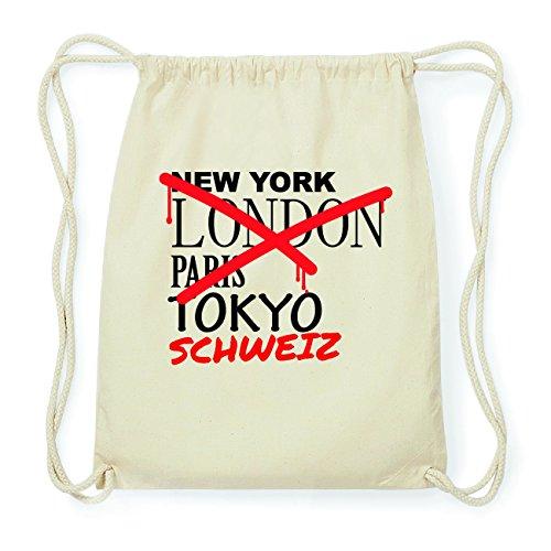 JOllify SCHWEIZ Hipster Turnbeutel Tasche Rucksack aus Baumwolle - Farbe: natur Design: Grafitti