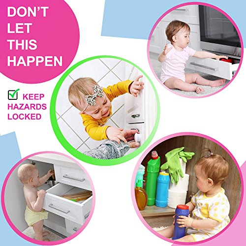 Baby Magnetic Cabinet Locks Child Safety - Ideal for Baby Proofing Cabinets and Drawers in Kitchen - 12 Latches & 2 Keys - No Drilling, Easy to Install - Child Safety Cabinet Locks by BabyTrust