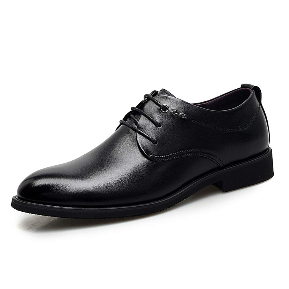 Black SRY-Fashion shoes Men's Fashion Business Oxford Casual Light Comfortable Plain colord Lace-up Formal shoes