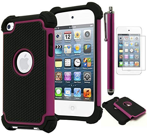 Bastex Hybrid Armor Case for Apple iPod Touch 4, 4th Generation - Hot Pink+BlackINCLUDES SCREEN PROTECTOR AND STYLUS -