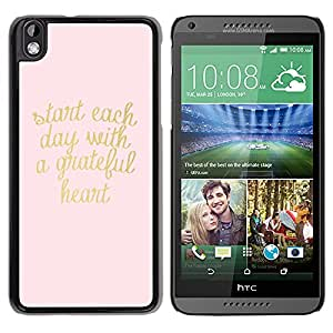YOYOYO Smartphone Protección Defender Duro Negro Funda Imagen Diseño Carcasa Tapa Case Skin Cover Para HTC DESIRE 816 - oro rosa corazón texto texto de motivación