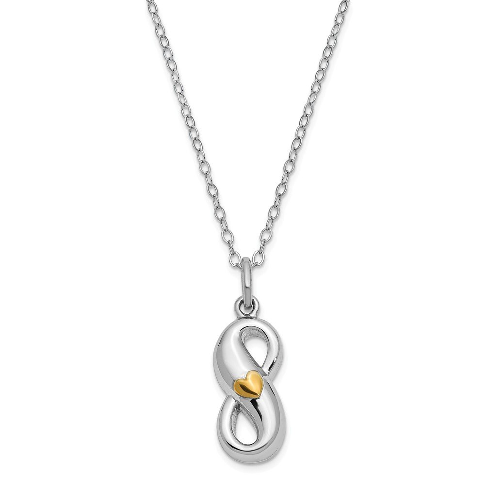 Top 10 Jewelry Gift Sterling Silver Gold-tone Infinite Love Ash Holder 18in. Necklace by Jewelry Brothers Necklaces (Image #1)