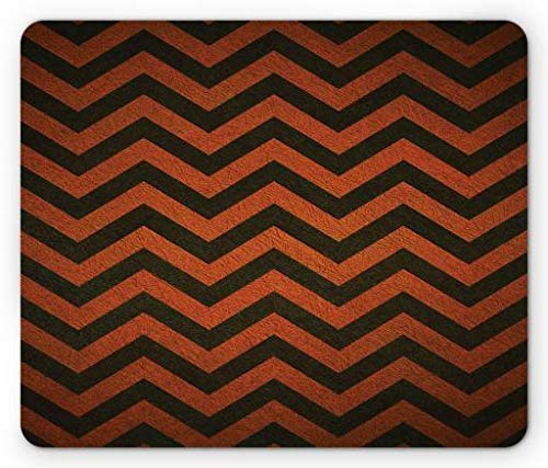 Halloween Mouse Pad, Abstract Retro Grunge Chevron Strips Halloween Spirit Illustration, Standard Size Rectangle Non-Slip Rubber Mousepad, Burnt Orange Dark Taupe,9.8 x 11.8 x 0.118 Inches ()