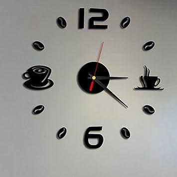 STRIR Extraíble DIY acrílico 3D espejo etiqueta de la pared reloj decorativo (Negro): Amazon.es: Hogar