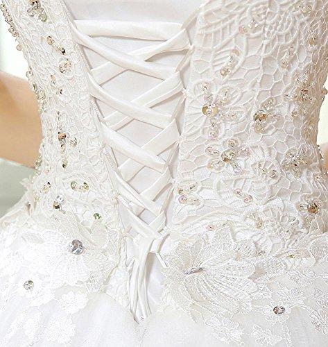 sposa Sequin Lace Beauty Emily Bianco da scollo Layered abito cuore a sfera SBv7qvnx5