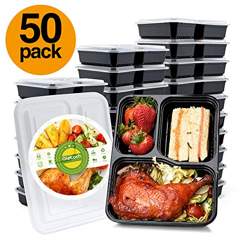 (Glotoch 50 Pack 34 Ounce Lunch Box Containers Set with Lid for Meal Prep and Portion Control in 3 compartment food containers-Microwaveable, Freezer & Dishwasher Safe)