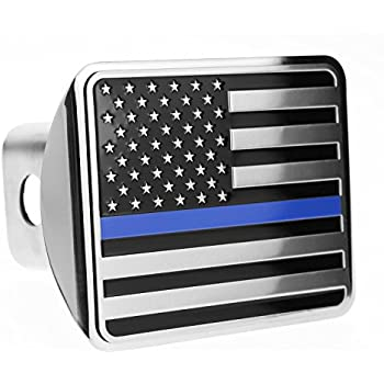 Police Blue Line Flag shape of Texas Metal Hitch Cover