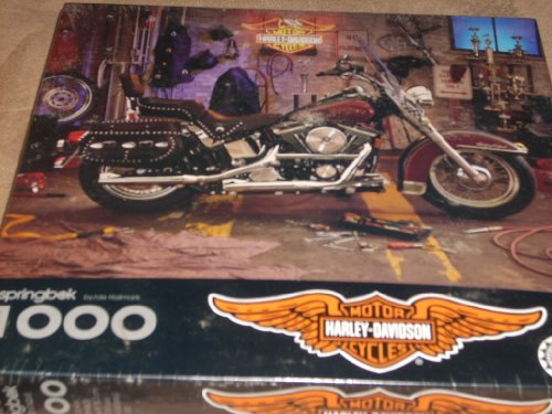 Harley-Davidson Official Licensed Product - 1994 Puzzle Motorcycle in garage with gear, leathers and tools - 1000 interlocking pieces - when assembled is full 24