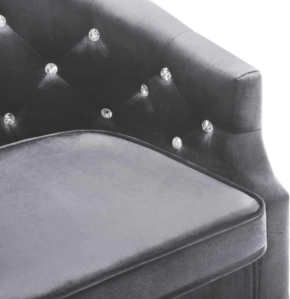vidaXL Fauteuil avec Revêtement en Velours Noir Salon Salle de Séjour Canapé Anthracite