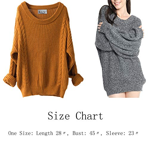 b2b6c72a381 Liny Xin Women s Cashmere Oversized Loose Knitted Crew Neck Long Sleeve  Winter Warm Wool Pullover Long