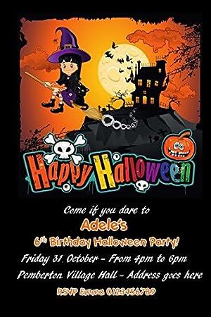 personalised halloween birthday party invitations x10 amazon co uk