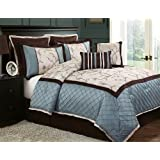 VCNY Alexandria8-Piece Queen Comforter Set, Blue