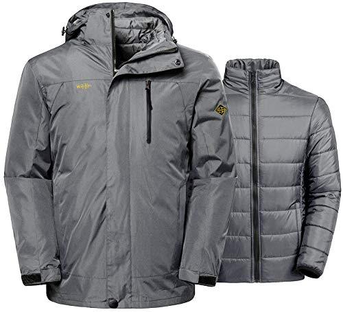 Wantdo Men's Windproof 3-in-1 Jacket Waterproof Windbreaker for Skiing Grey L