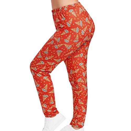 Women Yoga Harem Pants Christmas Print Elastic Waistband Pants (Red, 3L)