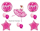 Pink Ballerina Happy Birthday Party Balloons Decorations Supplies