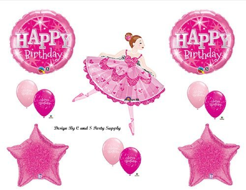 Pink Ballerina Happy Birthday Party Balloons Decorations Supplies by Anagram