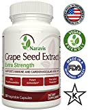 Naravis Grape Seed Extract - 400mg - 120 Veggie Capsules - 95% Proanthocyanidins - Non-GMO Antioxidant Supplement