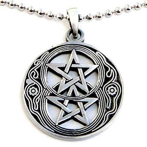 OhDeal4U Pentacle Star Wiccan Wicca Pendant in Silver Chalice Well W Double Pentagram Pewter W Silver Ball Chain