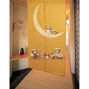 Matsumoto Shoji Noren Japanese Doorway Curtain Gold Owl And Moon