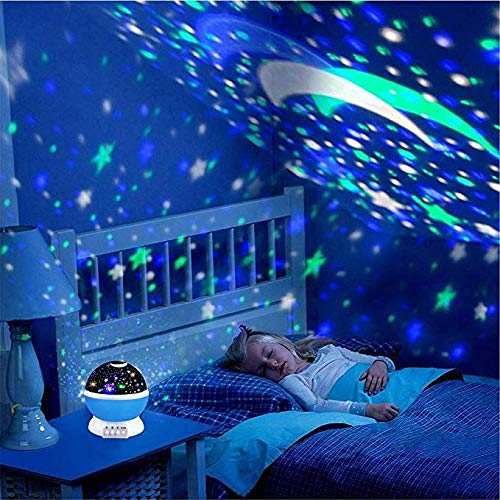 Baby Night Light Star Projector FastWin Moon Novelty Toys Glow in The Dark Toys for Baby Children Sleeping Gift (Blue)