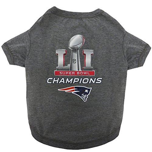 Pets First Nep-4070-lg Nfl New England Patriots 2017 Super Bowl Li Championship Pet Tee Shirt, Large
