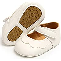 UniBaby7 Baby Girl Shoes Soft Sole Walking Shoes Infant Prewalker Flower Mary Jane Flats Crib Shoes Princess Wedding…