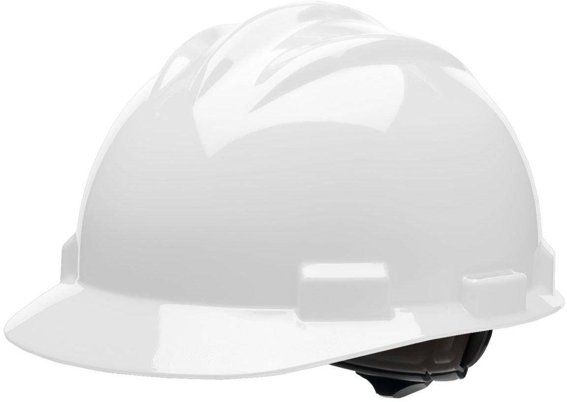 Bullard 61WHR  Standard Series Cap Style Hard Hat, 4 Point Suspension Ratchet, Cotton Brow Pad,  White, One Size