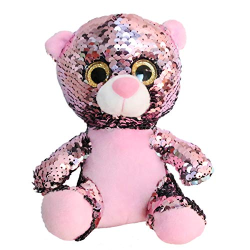 Athoinsu Flip Sequin Stuffed Teddy Bear Big Eyes Plush Toys with Reversible Glitter Two-Side Sequins Nice Gifts for Kids Friends, Pink, 7'']()