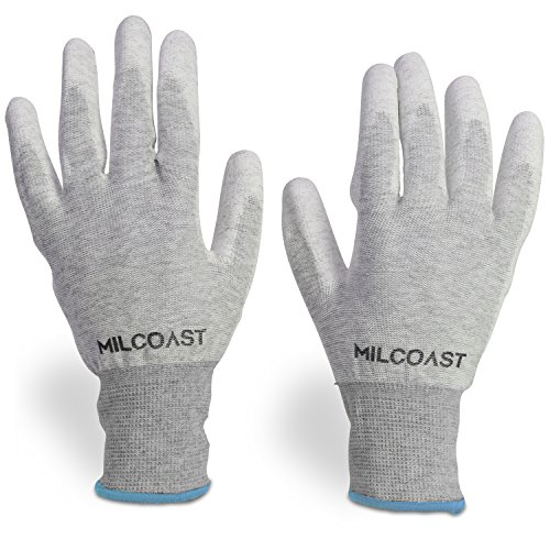 Milcoast Carbon Fiber Electrostatic Discharge Anti-Static ESD Gloves - Polyurethane Palm Coated for Work and Handling - Pack of 10 Pairs (Extra Large)