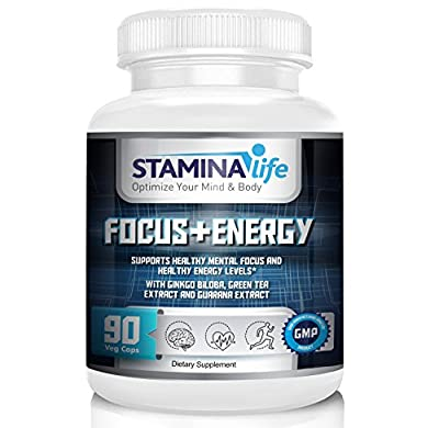 Focus and Energy by Stamina Life a Selected Formula that Supports Mental Focus and Increases Energy Levels 90 Vcaps Ginkgo Biloba, Gotu Kola, Green Tea Extract, Guarana Extract, Panax Ginseng and more