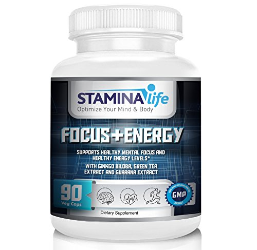 Focus and Energy by Stamina Life a Selected Formula that Supports Mental Focus and Increases Energy Levels|90 Vcaps|Ginkgo Biloba, Gotu Kola, Green Tea Extract, Guarana Extract, Panax Ginseng and more - Biloba Green Tea