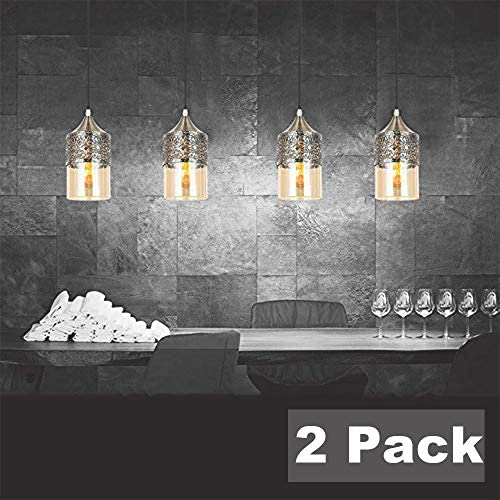 Nurluce 2 Pack Plug in Chandeliers for Dining Rooms Arabian Style Pendant Lighting for Kitchen Island Vintage Moroccan Lantern Classical Hanging Lights for Living Room Brass Turkish Lamp