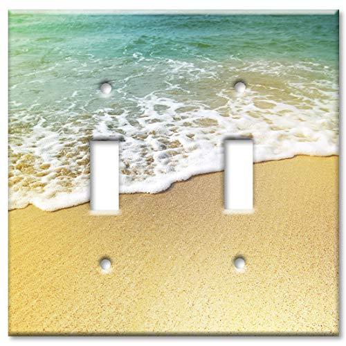Art Plates 2 Gang Toggle Wall Plate - Foamy Waves on the Beach