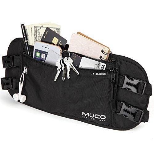 muco Money Belt for Travel, Hidden Passport Holder, RFID Blocking Travel Wallet for Women and Men