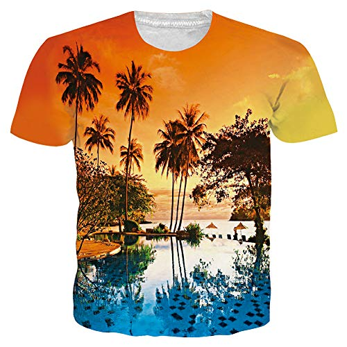 Unisex 3D Novelty Tshirts Men Graphic Funny Tees Coconut Tree Beach Printed Pattern Crewneck Short Sleeve Summer Top T-Shirts XL