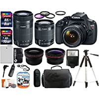 Canon EOS Rebel T5 18.0 MP CMOS Digital Camera SLR Kit With Canon EF-S 18-55mm IS II + Canon 55-250mm IS STM Lens + Wide-Angle Lens + Telephoto Lens + 8GB and 16GB Card + Card Reader + Case + Battery + Flash + Tripod + Remote + 58mm Filter Kit - 24GB Deluxe Accessories Bundle Overview Review Image