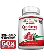 Sans OGM Gélules de Complément Concentré de Canneberge (Cranberry) Pour les Infections Urinaires. Equivalent à 12600 mg de Canneberge Frais ! Renforcez la Santé de vos Reins ou Système Urinaire.