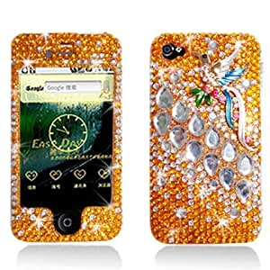 Aimo Wireless IPHONE4GPC3D036 3D Premium Stylish Diamond Bling Case for iPhone 4 - Retail Packaging - Bird Gold