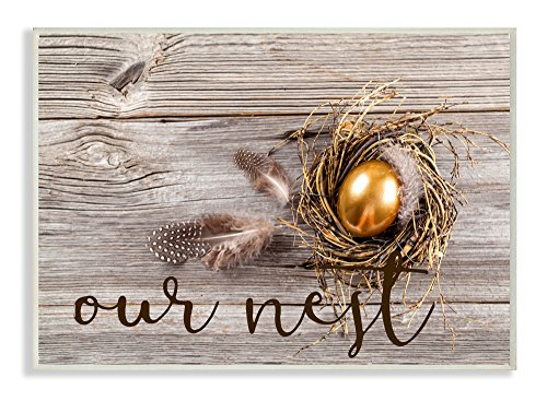 Stupell Home Décor Our Nest Golden Egg Distressed Wood Wall Plaque Art, 10 x 0.5 x 15, Proudly Made in USA