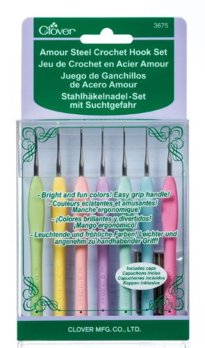 Clover 3675 Amour Steel Crochet Hook Set by Clover