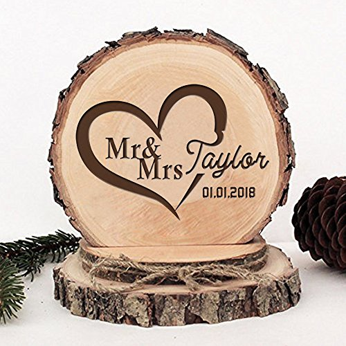 (KISKISTONITE Wooden Wedding Cake Toppers Name Custom Sweet Heart Design, Engraved Mr and Mrs Cake Rustic Country Decoration Favors Party Decorating)
